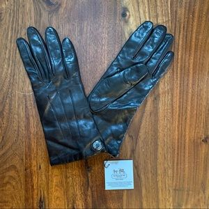 Coach Leather Cashmere Mahogany Logo Gloves Size 7